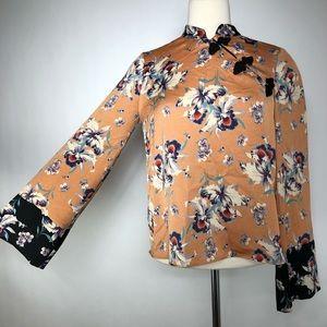 ZARA Floral Cheongsam Top with Kimono Sleeves